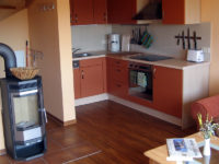Küche und Kamin in der Ferienwohnung Scheune